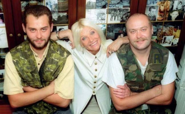 Actress Svetlichnaya with her sons Alexey and Oleg