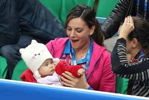 Elena Isinbayeva and her daughter