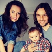 Happy family. Svetlana Svetikova and Alexey Polishchuk with their son