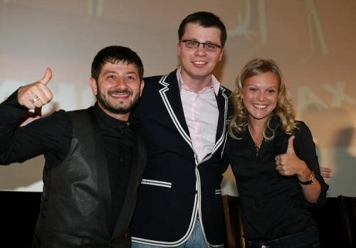 Mikhail Galustyan, Garik Kharlamov and Elena Velikanova