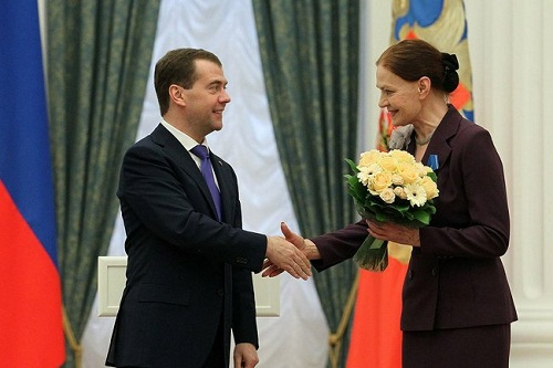 President Medvedev awarding Lyudmila Chursina with the Medal of Honor, February 22, 2012