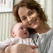 Pretty Anna Snatkina with her daughter