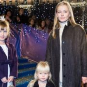 Actress Yulia Peresild with her daughters