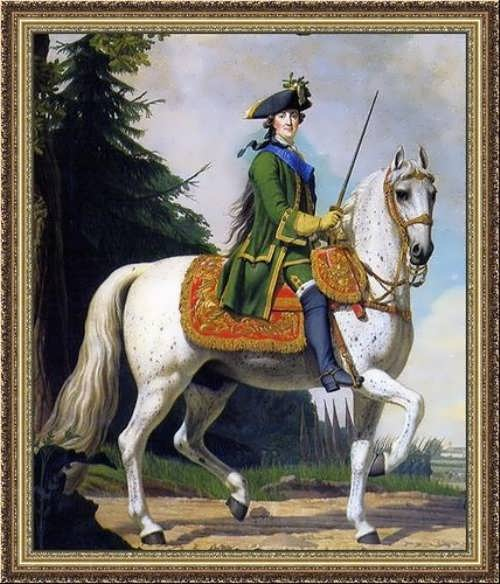 Equestrian portrait of Catherine in the Preobrazhensky uniform