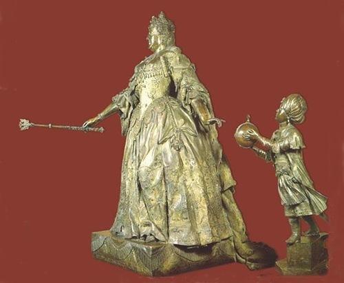 K. B. Rastrelli. Anna Ioannovna with Arab boy. 1741