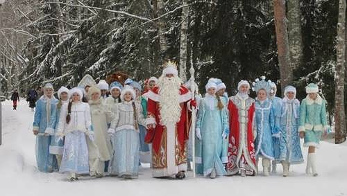 Ded Moroz and his granddaughters