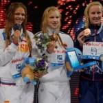 Yulia Efimova, Ruta Meilutyte and Jessica Hardy