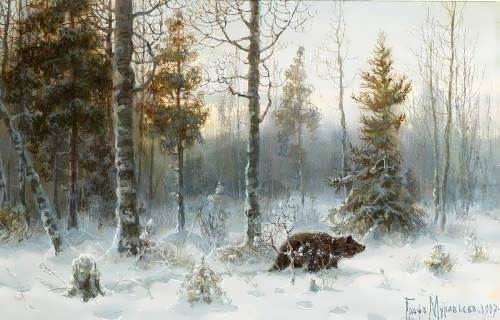 Bear in winter forest. 1907