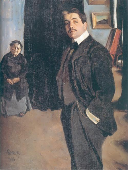 Bakst Portrait of Sergei Diaghilev with the nanny