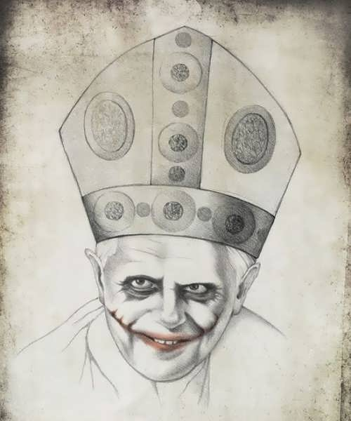 Pope Benedict XVI as Heath Ledgers Joker