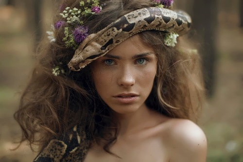 Wood nymph and poisonous snake