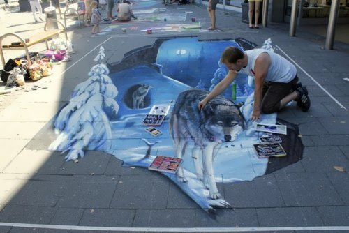 Three-dimensional street art by Russian artist N. Arndt