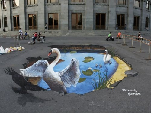 3D street art by Russian artist N. Arndt
