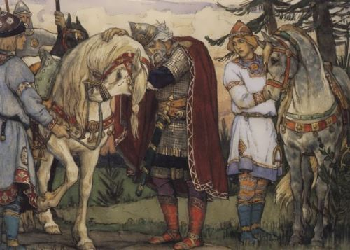 V.M. Vasnetsov. Prophetic Oleg's farewell to his horse.