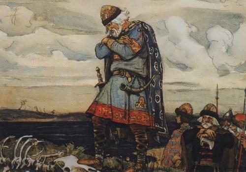 Oleg and horse's bones. V. M. Vasnetsov, 1899