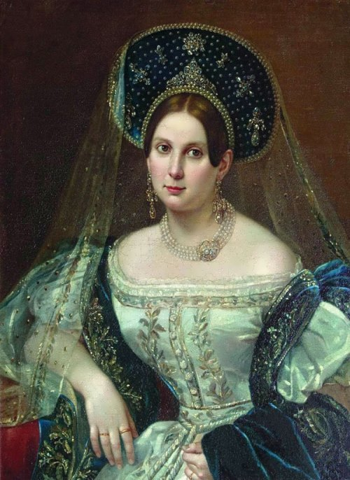 Portrait of an Unknown woman in Russian court dress
