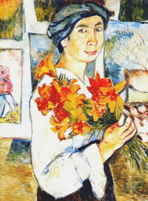 Natalia Goncharova. Self-portrait with yellow lilies.