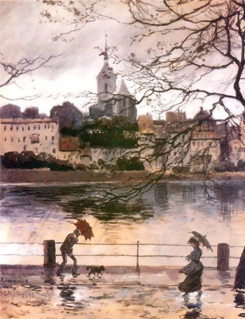 Basel in the rain Alexander Benois