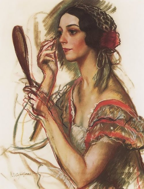 In the dressing room. Portrait of V.K. Ivanova dressed as Spaniard. 1924