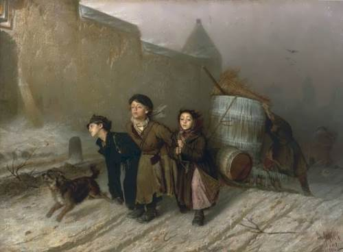 Troika, 1866. Perov spoke out against the inhuman exploitation of child labor