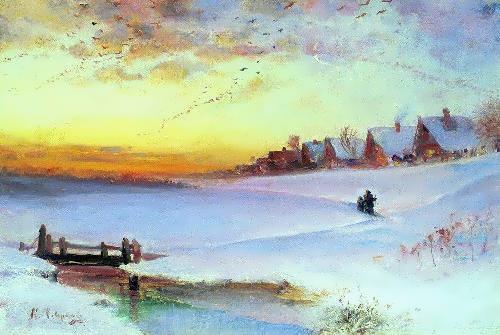 Winter landscape. Thaw, 1890