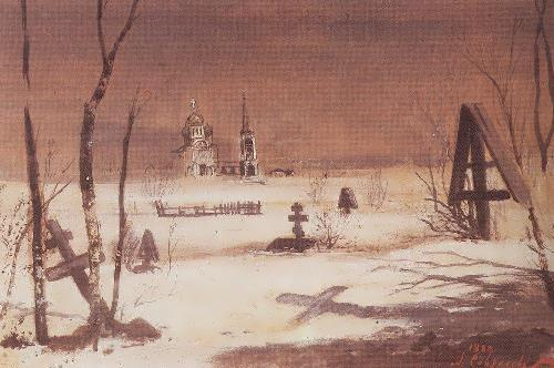 The rural cemetery on a moonlit night Alexei Savrasov