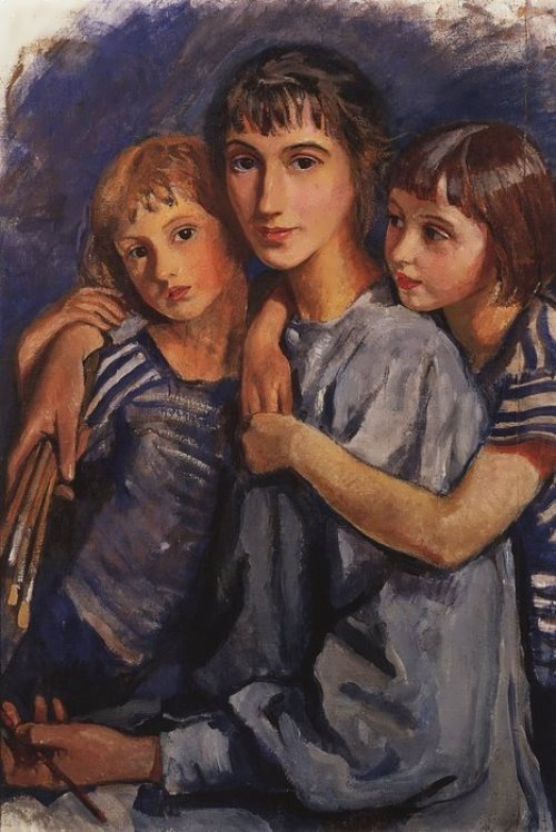 Self-portrait with her daughters, 1921