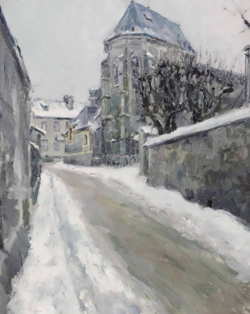 Snow-covered street in Meudon, 1893
