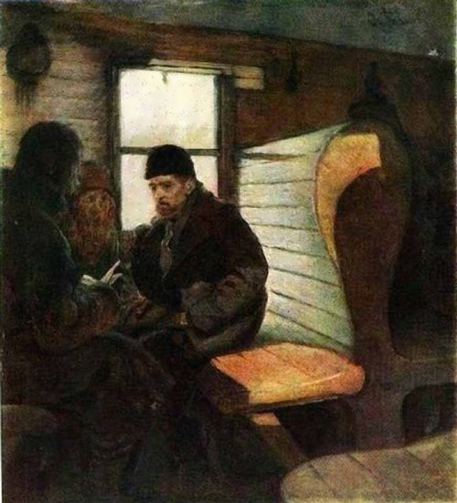 The Agitator in a Train Carriage, 1885