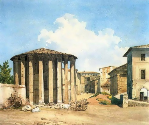 Temple of Vesta in Rome, end of 1830