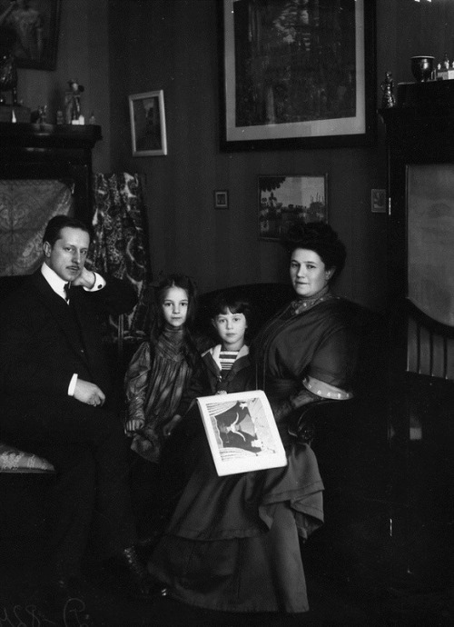 The artist M. Dobuzhinsky with his family