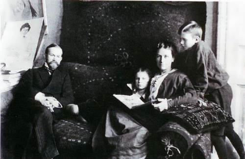 The artist with his wife and children, Irina and Kirill
