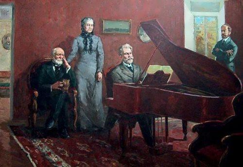 A. Sidorov. Tchaikovsky visits Pirogov
