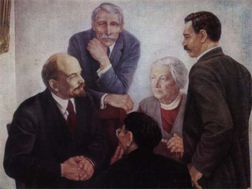 E.N. Shirokov. Lenin and M. Cachin, Clara Zetkin, B. Kuhn, S. Katayama