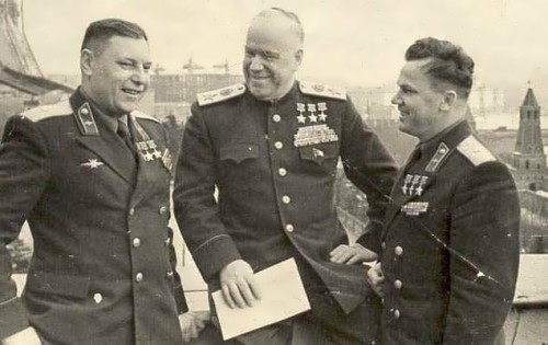 Three times Heroes of the Soviet Union Marshal Zhukov and Air Force Major Generals M. Kozhedub and A. Pokryshkin