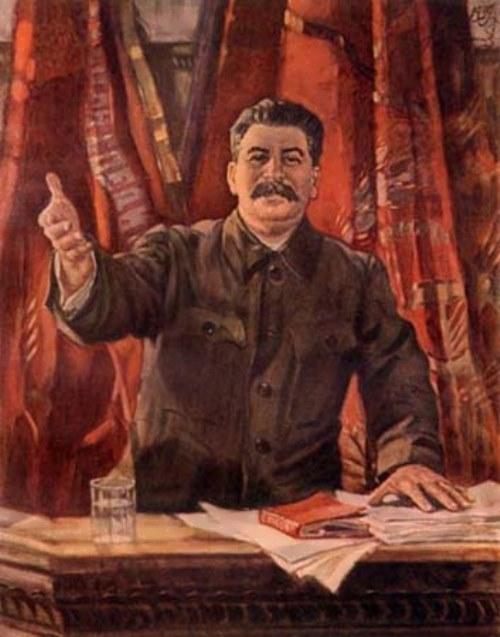 A. Gerasimov. Stalin makes a report at the XVIII Congress of the CPSU, 1939