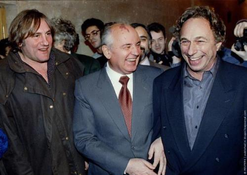Gerard Depardieu, Mikhail Gorbachev and Pierre Richard