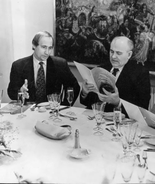 Vladimir Putin and Mikhail Gorbachev have dinner at the restaurant Nevsky Palace in St. Petersburg, 1995