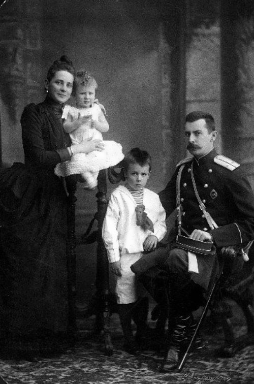 Family photo - Yusupov father, the mother Zinaida Yusupova, the eldest son of Nikolai and the youngest son Felix