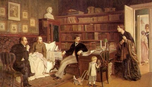N.A. Nekrasov and I.I. Panaev and sick Belinsky. Artist A. Naumov, 1881