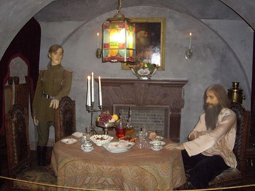 Wax figures of Felix Yusupov and Rasputin. The murder scene