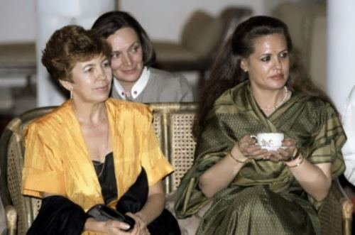 Raisa Gorbacheva at a reception in Delhi during her official visit to India, 1986