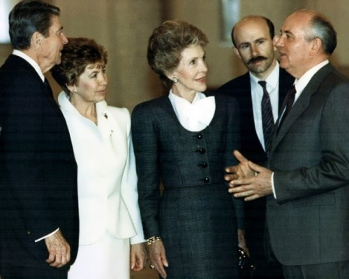 Reagans and Gorbachevs in Moscow, 1988