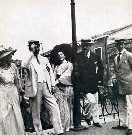 Leon Bakst, Sergei Diaghilev and Vaclav Nijinsky with the ladies