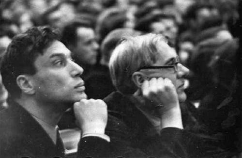 Pasternak and Chukovsky at the first congress of the Writers' Union in 1934
