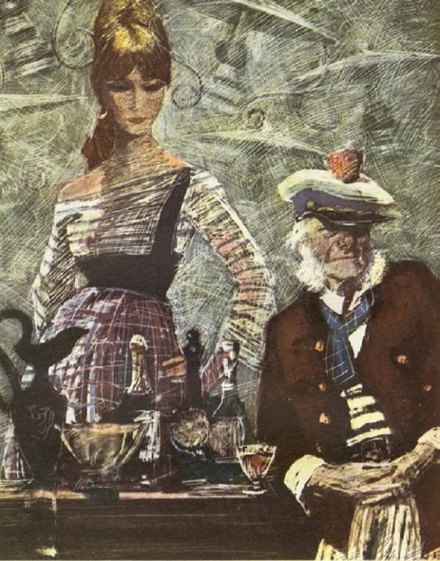 Commandant of the port. Illustration by Savva Brodsky