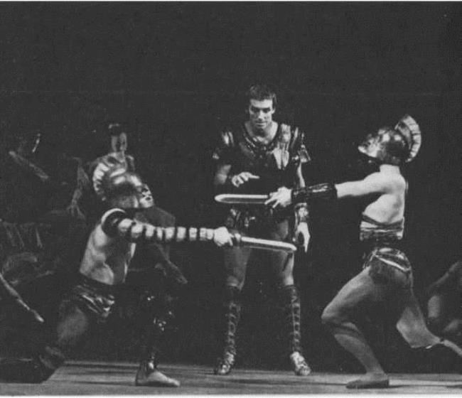 Scenes from the ballet Spartacus. Bolshoi Theater of the USSR. Fight of gladiators