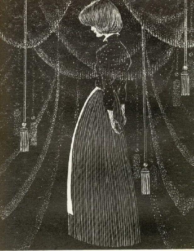 Velvet curtain. Illustration by Savva Brodsky