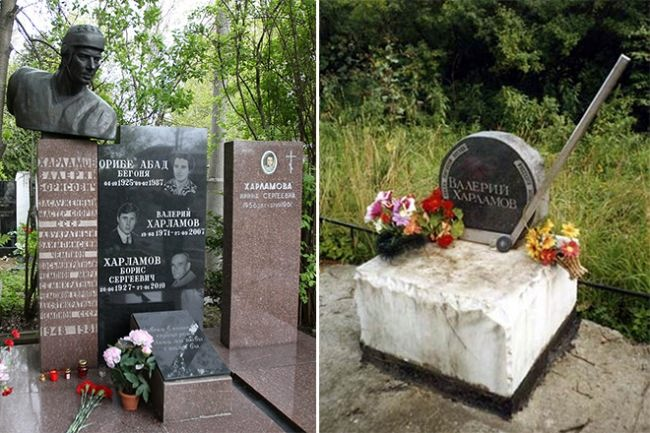 Monuments to Valery Kharlamov on the grave and on the site of death