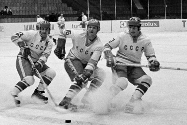 The legendary trio Petrov-Kharlamov-Mikhailov